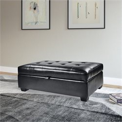Storage Ottoman in Black Bonded Leather