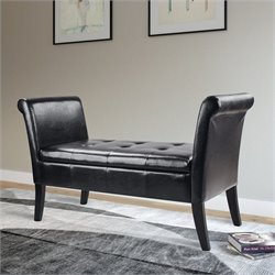 Sonax CorLiving Antonio Bench in Black Bonded Leather with Rolled Arms