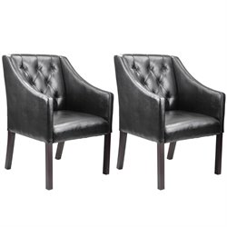 Sonax CorLiving Antonio Leather Club Chair in Black (Set of 2)