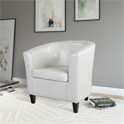 Sonax CorLiving Antonio Leather Club Barrel Chair in White
