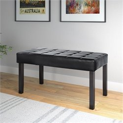 Faux Leather Bench in Black