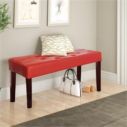 Faux Leather Bench in Red