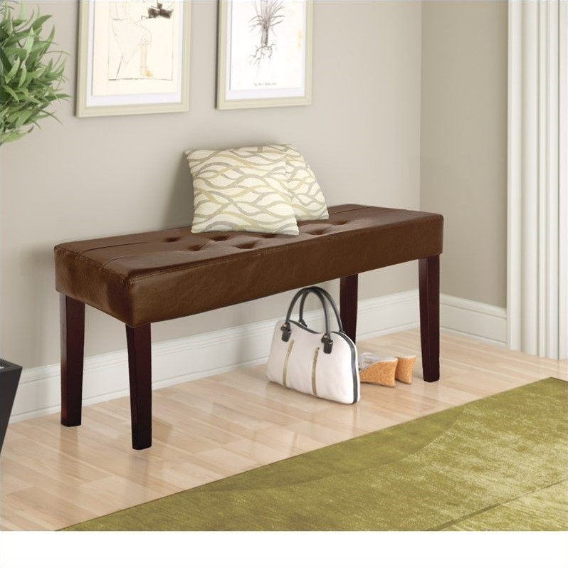CorLiving Fresno Faux Leather Bench in Brown