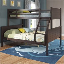 Sonax CorLiving Ashland Twin-over-Full Panel Bunk Bed in Dark Cappuccino
