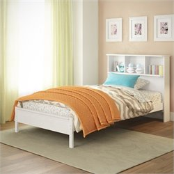 Sonax CorLiving Ashland Twin Single Bed with Bookcase Headboard in White