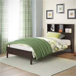 Sonax CorLiving Ashland Twin Single Bed with Bookcase Headboard in Dark Cappuccino