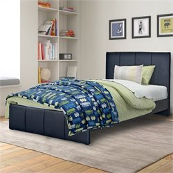 Sonax CorLiving Fairfield Twin Single Bed in Black Bonded Leather