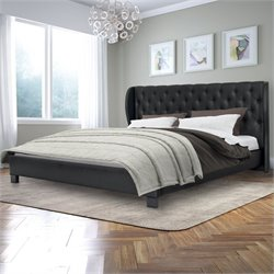 Sonax CorLiving Fairfield Tufted King Bed in Black Bonded Leather