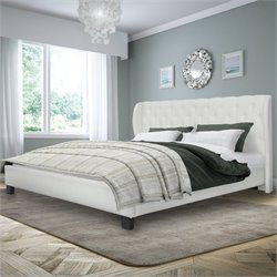 Sonax CorLiving Fairfield Tufted King Bed in White Bonded Leather