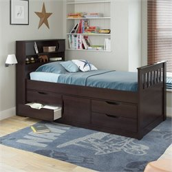 Sonax CorLiving Madison Twin Single Captain's Bed in Rich Espresso