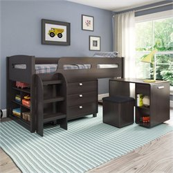5-Piece All-in-One Single Twin Loft Bed in Rich Espresso