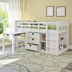 Sonax CorLiving Madison Single Desk and Storage Twin Loft Bed in Snow White