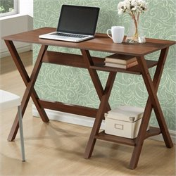 Sonax CorLiving Folio Desk in Warm Oak with 2 Lower Shelves