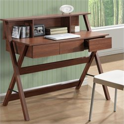 Sonax CorLiving Folio 3-Drawer Desk in Warm Oak with Low Profile Hutch