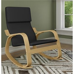 Sonax CorLiving Aquios Bentwood Contemporary Rocker in Midnight Black