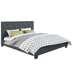 Diamond Tufted Upholstered King Bed in Blue Gray