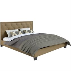 CorLiving Fairfield Diamond Tufted Upholstered King Bed in Latte