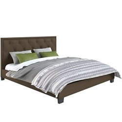 CorLiving Fairfield Diamond Tufted Upholstered King Bed in Brown