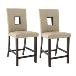 CorLiving Bistro Counter Stool in Woven Cream (Set of 2)