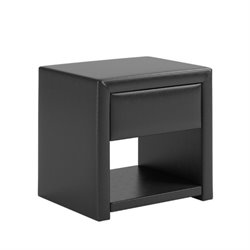 CorLiving San Antonio Faux Leather Upholstered Nightstand in Black
