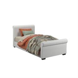 CorLiving San Antonio Twin Faux Leather Bed in White