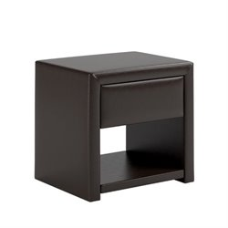 CorLiving San Antonio Faux Leather Nightstand in Black Espresso