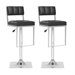 CorLiving Adjustable Faux Leather Bar Stool in Black (Set of 2)