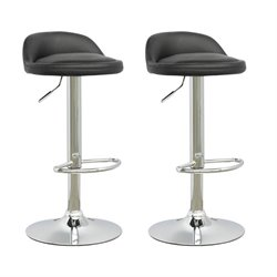CorLiving Low Profile Adjustable Bar Stool in Black (Set of 2)