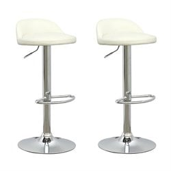 CorLiving Low Profile Adjustable Bar Stool in White (Set of 2)