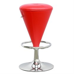 CorLiving Cone Shaped Adjustable Bar Stool in Red