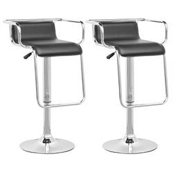 CorLiving Adjustable Bar Stool with Footrest in Black (Set of 2)