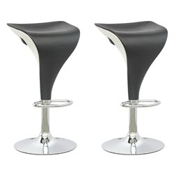 CorLiving Adjustable Two Toned Bar Stool in Black and White (Set of 2)