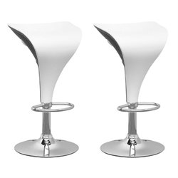 CorLiving Adjustable Bar Stool in White and Black (Set of 2)