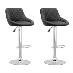 CorLiving Adjustable Diamond Back Bar Stool in Black (Set of 2)