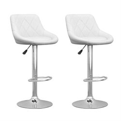 CorLiving Adjustable Diamond Back Bar Stool in White (Set of 2)