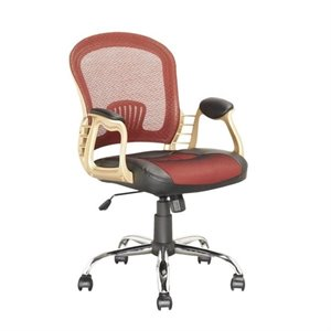 Faux Leather Swivel Office Chair in Black and Red