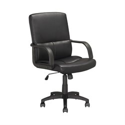Faux Leather Swivel Office Chair in Black