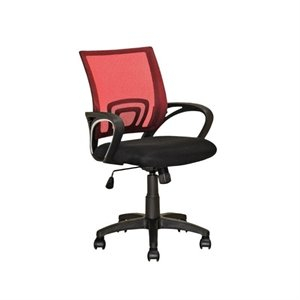 Mesh Back Swivel Office Chair in Red