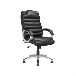 CorLiving Workspace Faux Leather Swivel Office Chair in Black