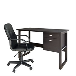 CorLiving Folio Computer Desk and Office Chair in Black Espresso