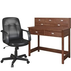 CorLiving Folio Computer Desk and Office Chair in Warm Oak