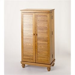 Leslie Dame CD/DVD Media Storage Cabinet with Louvered Door in Oak
