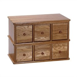 Leslie Dame 6-Drawer Deluxe CD Modular Storage Cabinet in Oak