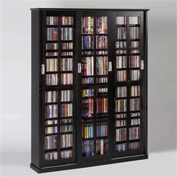 Leslie Dame Sliding Door Inlaid Glass Mission Black Multimedia Cabinet