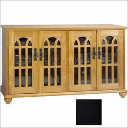Leslie Dame Inlaid Glass Door Mission Black Flat Panel TV Cabinet
