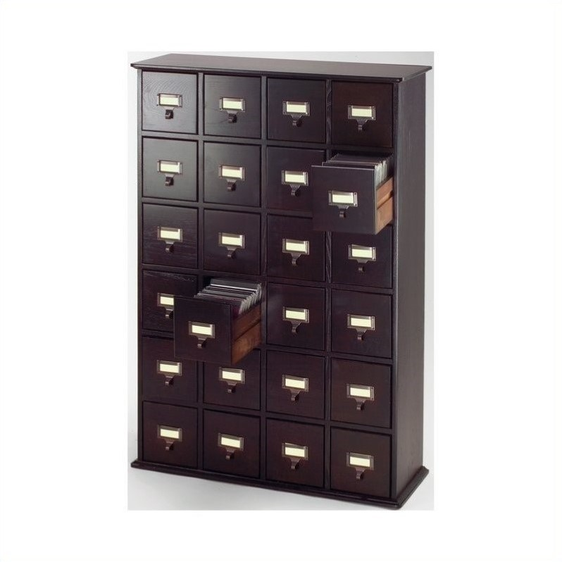 40 Quot 24 Drawer Cd Media Storage Cabinet In Espresso Cd 456 78