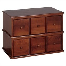 Leslie Dame 6-Drawer Apothecary Storage Cabinet in Walnut