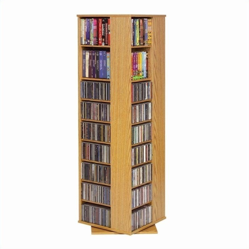 Spinning CD/DVD Tower in Oak