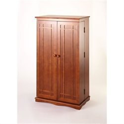 Leslie Dame CD/DVD Wall Rack Media Storage Cabinet with Door in Walnut