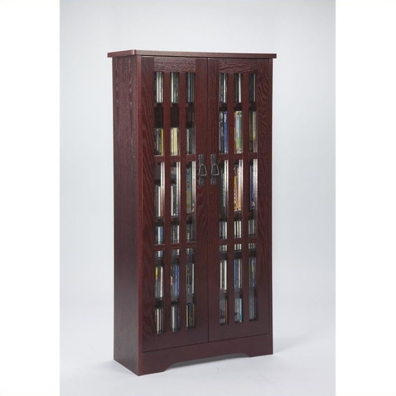 Leslie Dame Inlaid Glass Door Mission Multimedia Cabinet in Dark Cherry